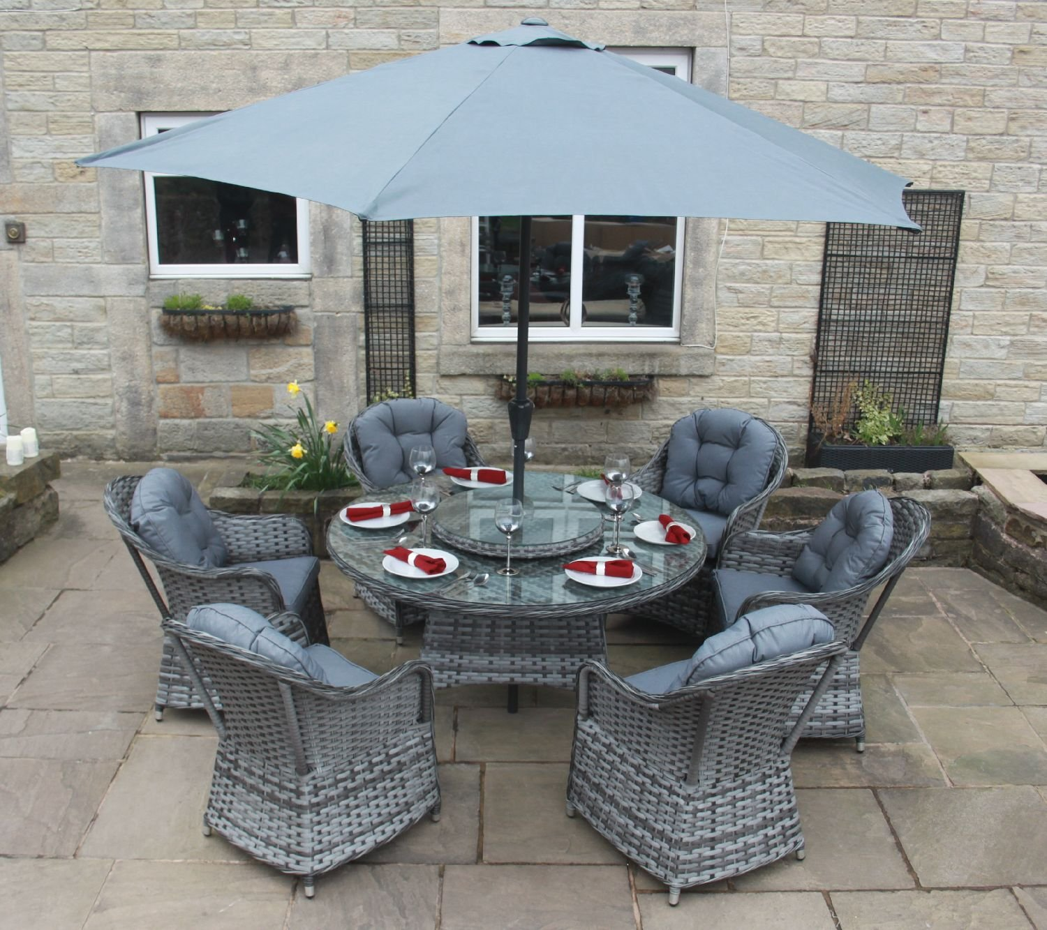 luxury grey rattan garden furniture 6 seat round dining set with parasol amazoncouk garden outdoors