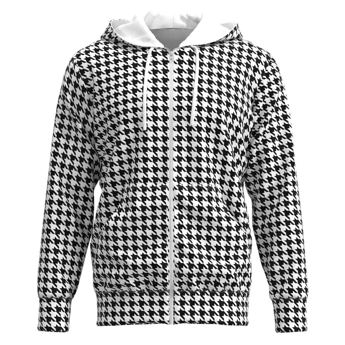 EightyThree XYZ Black White Houndstooth Women Zipper Hoodie Sweatshirt XS-3XL