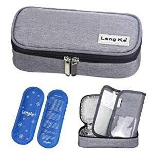 YOUSHARES Insulin Travel Case - Insulated Medication Cooler Travel Bag for Diabetic Insulin Pen and Vials Storage with 2 Cooling Ice Packs (Grey)