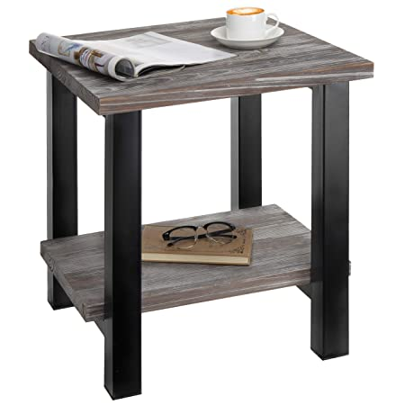 MyGift Rustic Torched Wood Black Metal 19-Inch Square End Table with Storage Shelf