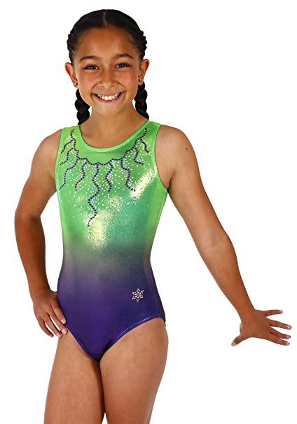 2f8218bd2b22 Snowflake Designs Neon Green Big Time Ombre Girls Gymnastics or Dance Green  and Purple Tank Leotard