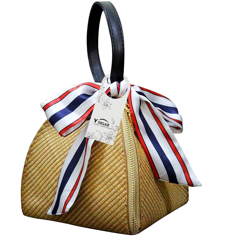 YINGAR Women Weave Straw Bag Handwoven Convertible Crossbody Shoulder Bag Summer Beach Bag and Handbags