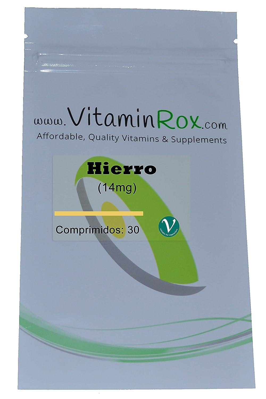 Hierro [14mg] - 30 Comprimidos | Resealabe Foil Paquete [Iron]: Amazon.es: Salud y cuidado personal