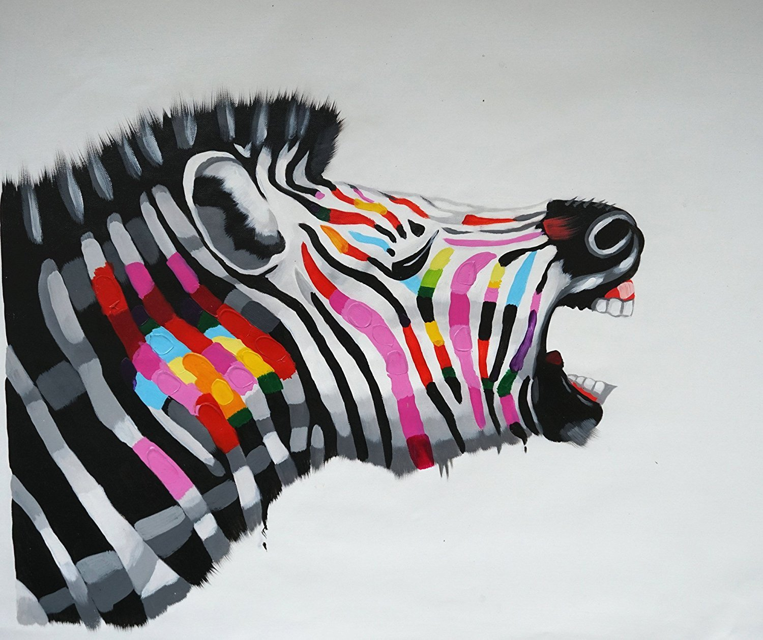 Mrsrui Animal Canvas Oil Hand Painted Hot Zebra Wall Art Decoration 100% Handmade For Living Room Bedroom Office 20x20inch (50x50cm)