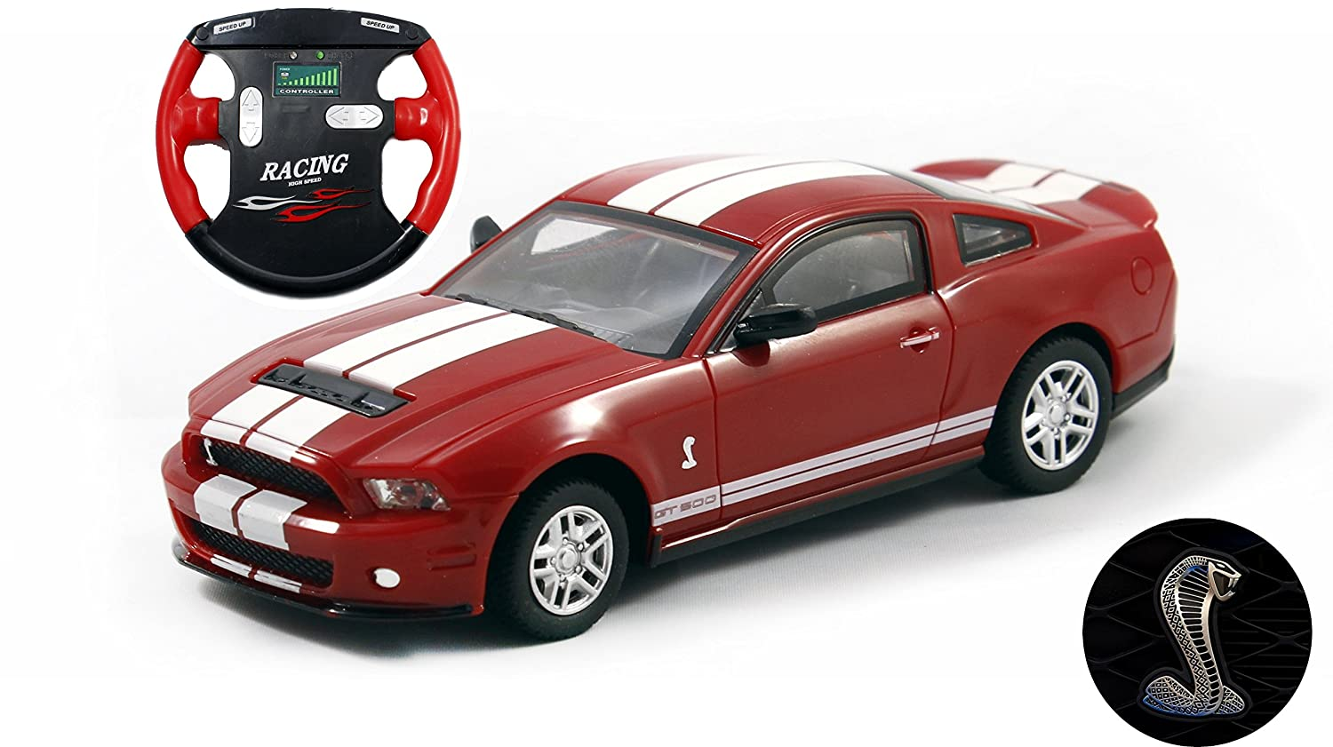 Ford mustang shelby gt500 mini licensed rc car 1 43 scale red w white stripes play vehicles amazon canada