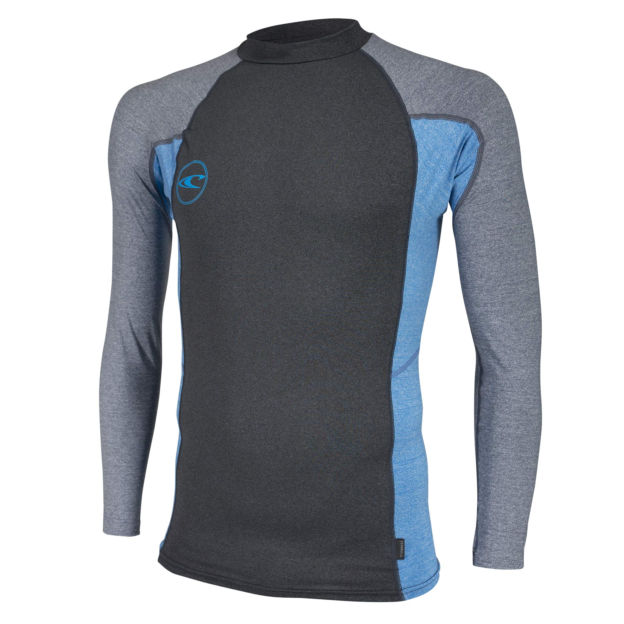 O'Neill Men's Basic Long Sleeve Premium Rash Guard, Black Brite Blue Cool Grey, Large
