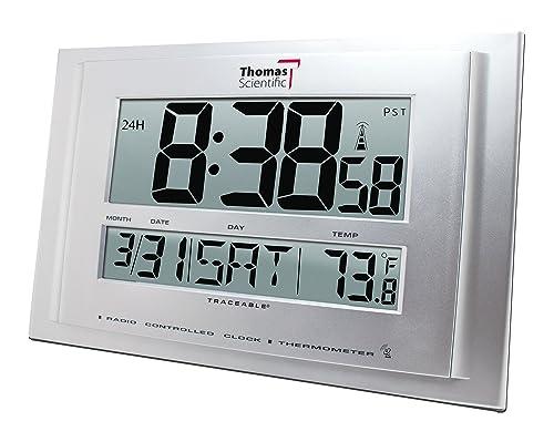 Thomas 1076 Traceable Digital Radio Atomic Wall Clock with 2-1 4 High Big Digit, 32 122 degree F, 11 Width x 7-1 4 Height x 3 4 Depth