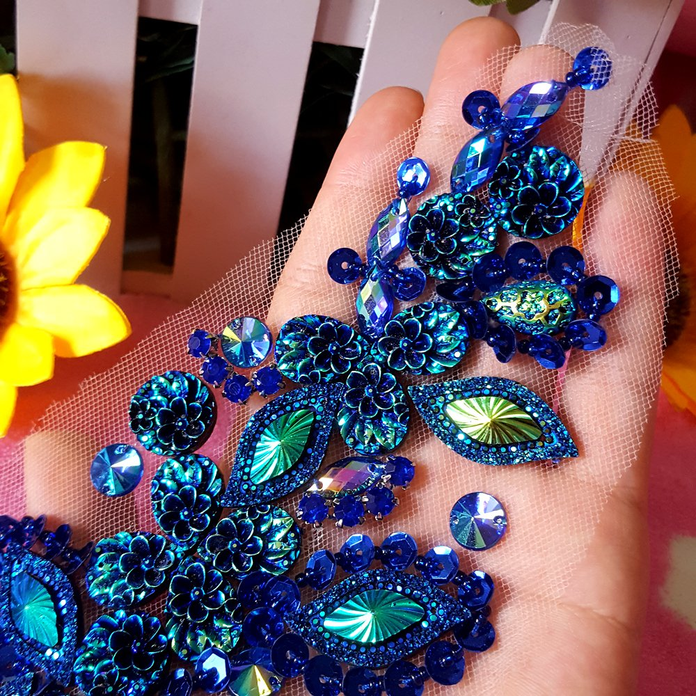 Pure Handmade Bright Crystal Patches Sew-on Blue Rhinestones Applique with Stones Sequins Beads DIY for Wedding Dress Decor Accessory 3.9x14.2/″ Belt Waist Decoration succi shan Fashion