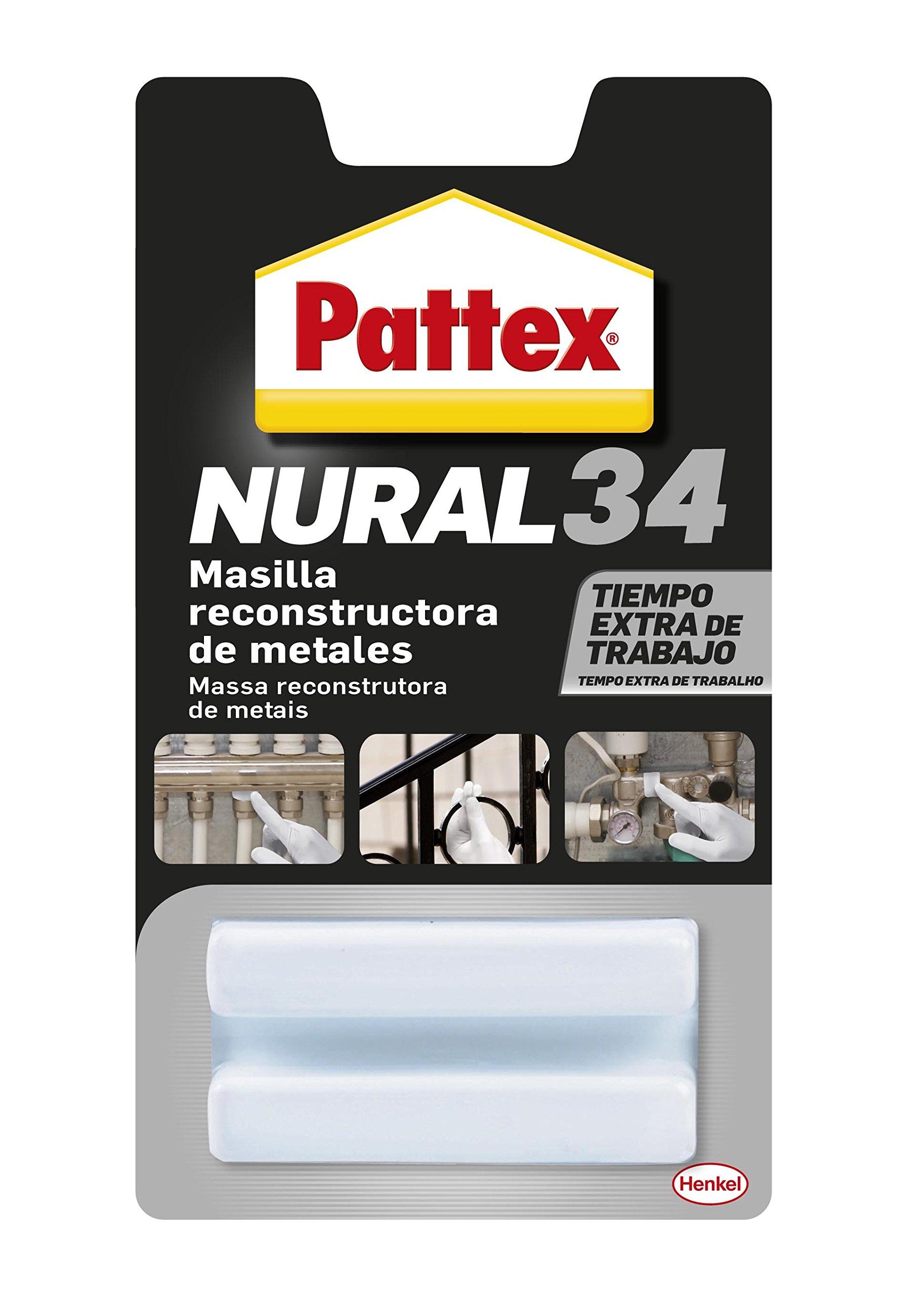 Pattex Nural 34, masilla reconstructora de metales, color gris, 50gr product image