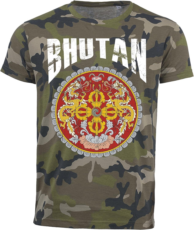 Camiseta Bhutan Camouflage Army Mundial 2018 .- Vintage Destroy escudo D01 Negro M: Amazon.es: Ropa y accesorios