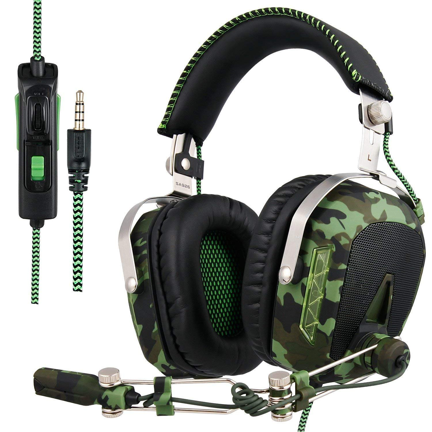 SADES SA926T Stereo Gaming Headset for PS4 New Xbox One, Bass Over-Ear Headphones with Microphone and In-line Volume Control for Laptop, PC, Mac, iPad, Computer, Smart phones(Camouflage)