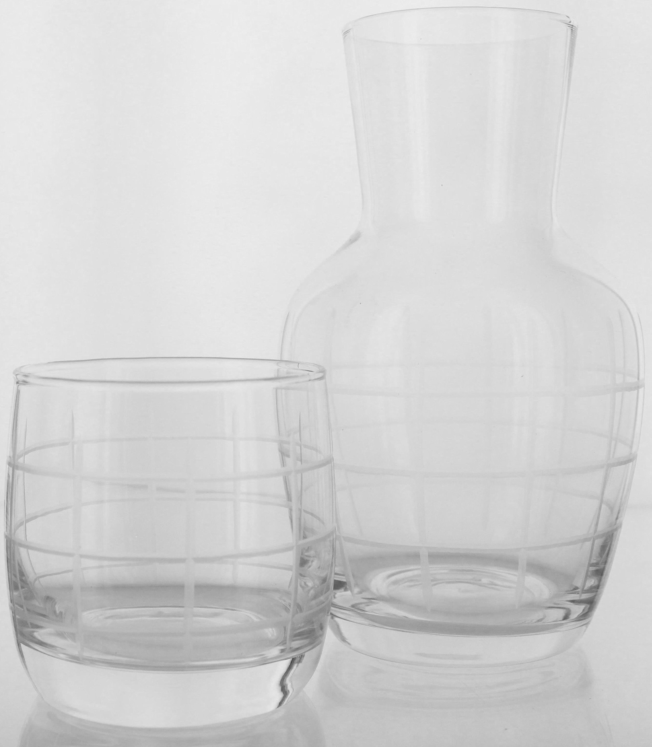 American Atelier 2-Pack Medallion Checker 2 Piece Set Night Carafe - Sophisticated Checkered Design w/Glass Tumbler Perfect for Bedside/Desktop/Shelf for All Occasions, Great for Storing Water, Juice