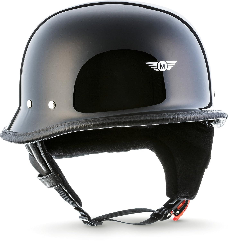 MOTO HELMETS - casco per moto a elmetto braincap, stile wehrmacht, casco di acciaio semiguscio, casco per motociclo, VESPA, per chopper, stile retro-stile wehrmacht, inclusa borsa di tessuto per il trasporto, D33 D33_BLACK_XXL