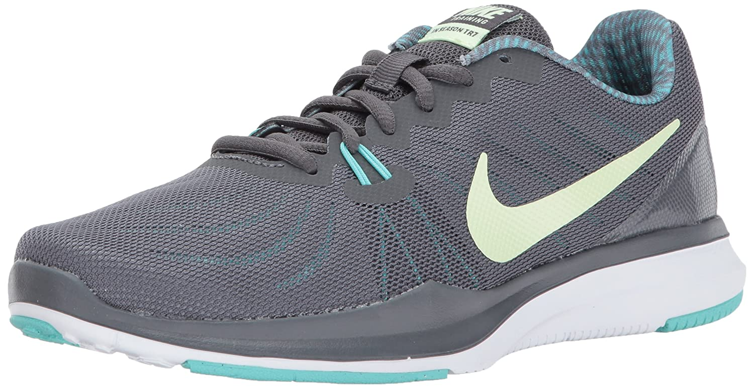 NIKE Women's in-Season 7 Cross Trainer B006K3FF4M 8 B(M) US|Dark Grey/Barely Volt - Aurora Green