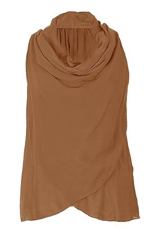 8fa8e0d7661 TEXTURE Ladies Women Italian Lagenlook Sleeveless Cowl Neck Cotton Viscose Top  Blouse One Size (Burnt Orange, One Size): Amazon.co.uk: Clothing