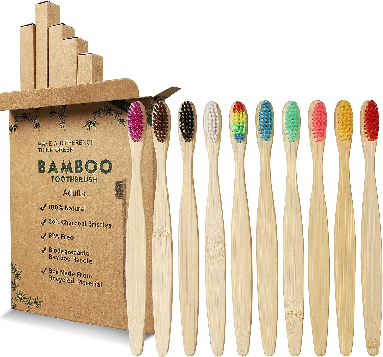 GeekerChip Cepillos de Dientes de Bambú,Paquete de 10 Cepillo de Dientes Bambú di Cerdas Suaves y Respetuosos con el Medio Ambiente Cuidado con Biodegradable-10 Colores