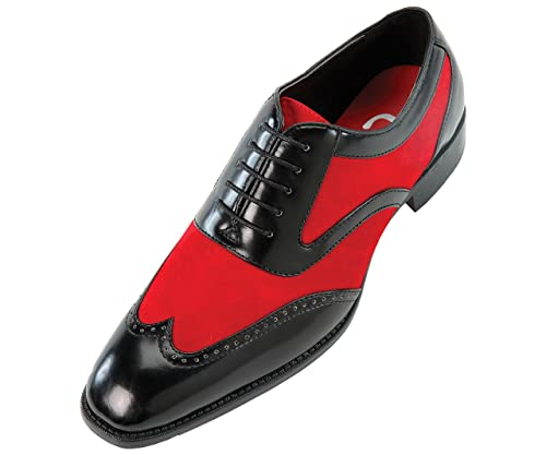 Amazon.com | Sio Mens Two-Tone Red Suede and Black SmoothWingtip ...
