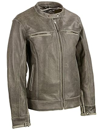 71ca72702 Milwaukee Leather Women's Distressed Vented Scooter Jacket at Amazon ...