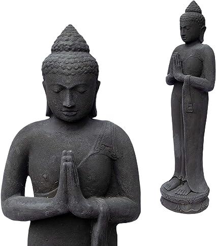 Fahome Figura De Buda De Piedra Para Jardín De Pie 120 Cm Grande Resistente A Las Heladas Fundición Maciza Color Negro Amazon Es Hogar