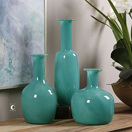 Three Aqua Turquoise Glass Vases Set Classic Contemporary Tall