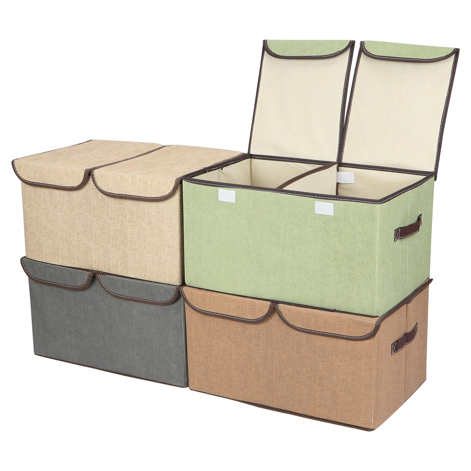 RONRI Cube Storage Bins Storage Boxes Organizer Bin Containers Cubes Foldable Storage Boxes with Handles for Home, Office, Nursery, Closet, Bedroom, Living Room, Green, Grey, Beige, Khaki 4 Packs