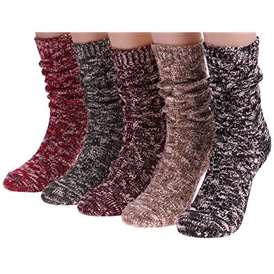 5 Pairs Women Winter Vintage Think Knit Cotton Crew Socks S60, Size 5-9 (mixed1) at Amazon Women's Clothing store