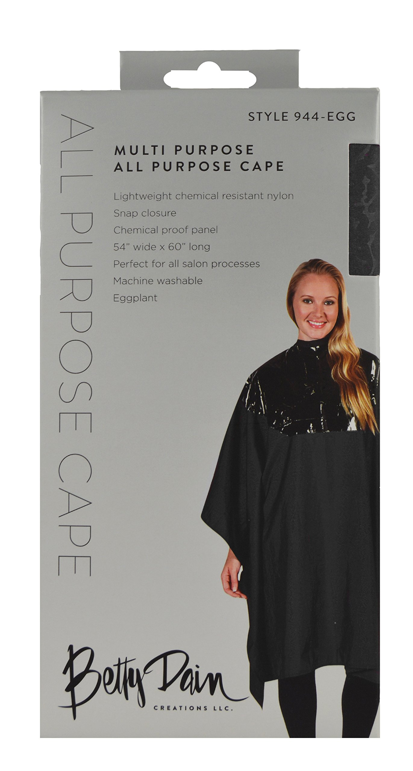 Betty Dain Multi Purpose Coloring/Styling Cape with Chemical-proof Panel, Black by Betty Dain