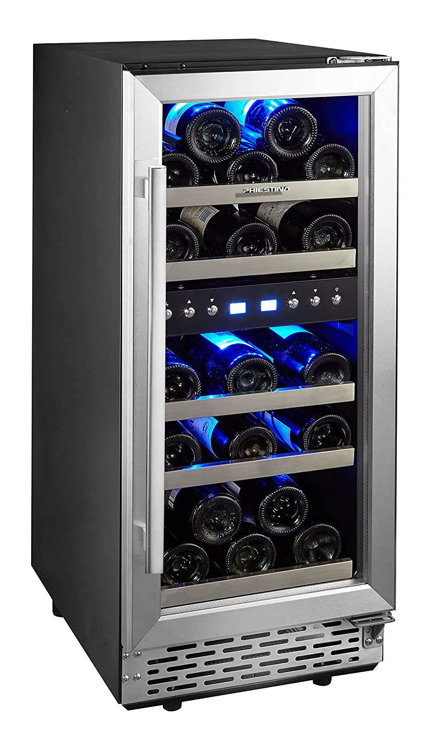Phiestina 29 Bottle Wine Cooler 15'' Built-in or Free-standing Compressor Cooling Refrigerator. Stainless Steel & Glass Door Wine Showcase
