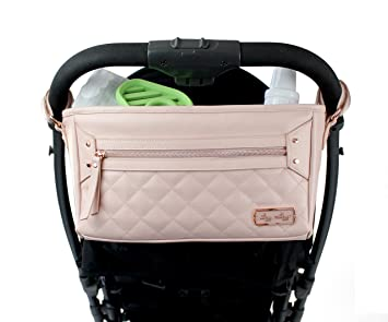 Front Zippered Pocket /& Adjustable Straps to Fit Nearly Any Stroller Itzy Ritzy Adjustable Stroller Caddy Black with Gold Hardware Stroller Organizer Featuring Two Built-in Pockets