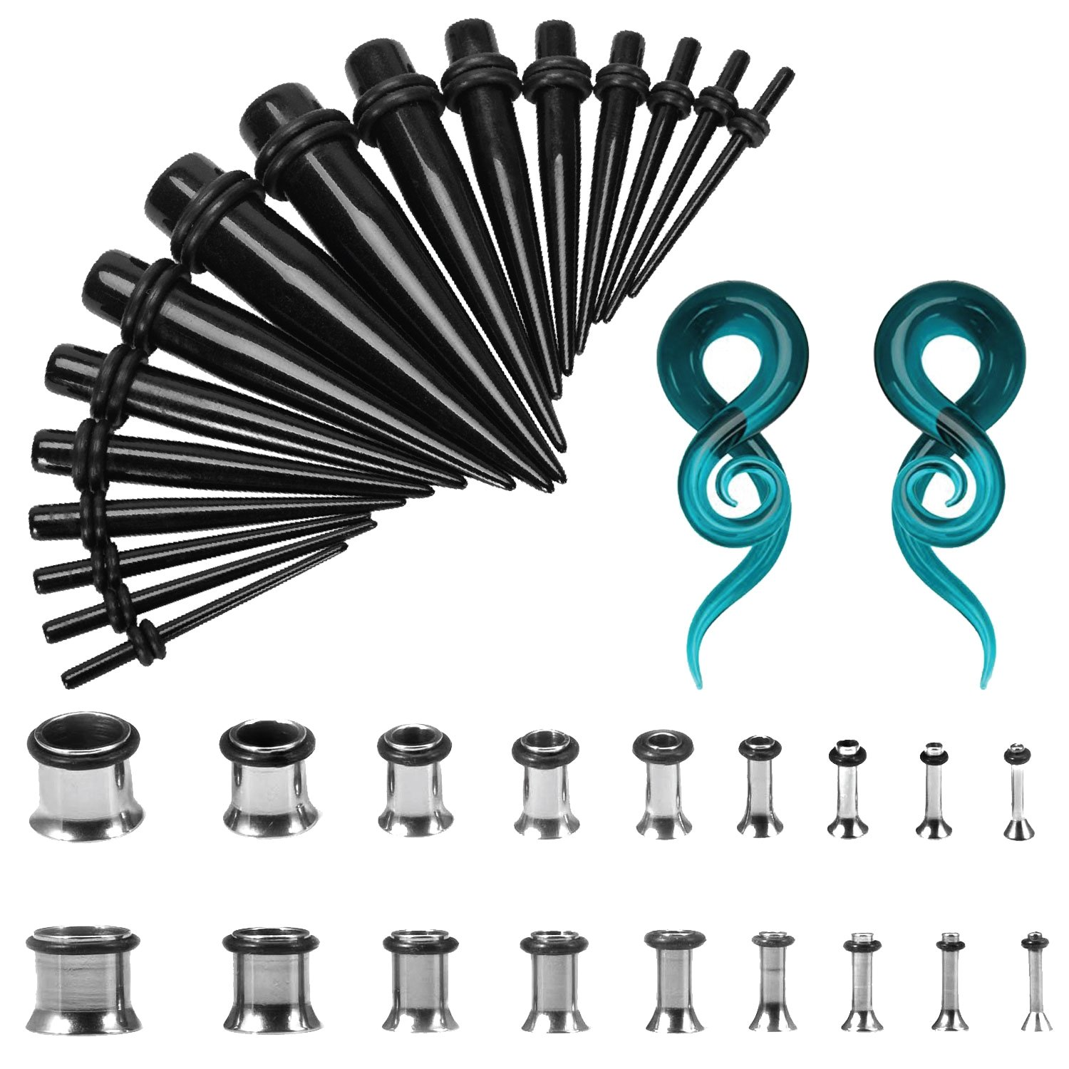 BodyJ4You 38PC Gauges Stretching Kit 14G-00G Stainless Steel Plug Black Tapers With 00G Spiral Glass Ear Set