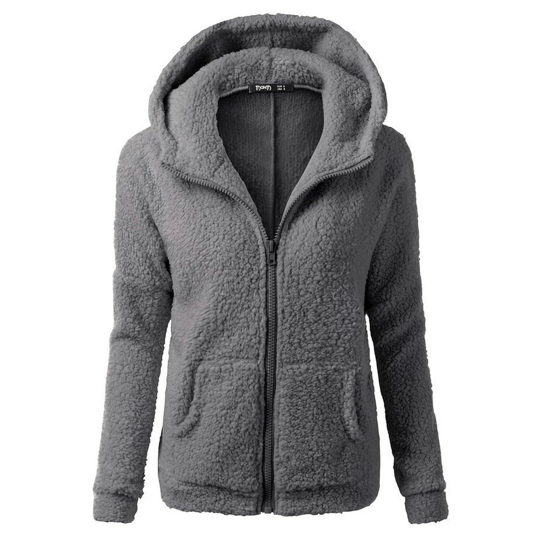 Desshok Felpe con Cappuccio Donna Hooded Maglione Cappotto Zip Giacca Con Tasche Autunno Blazer Cardigan Outwear