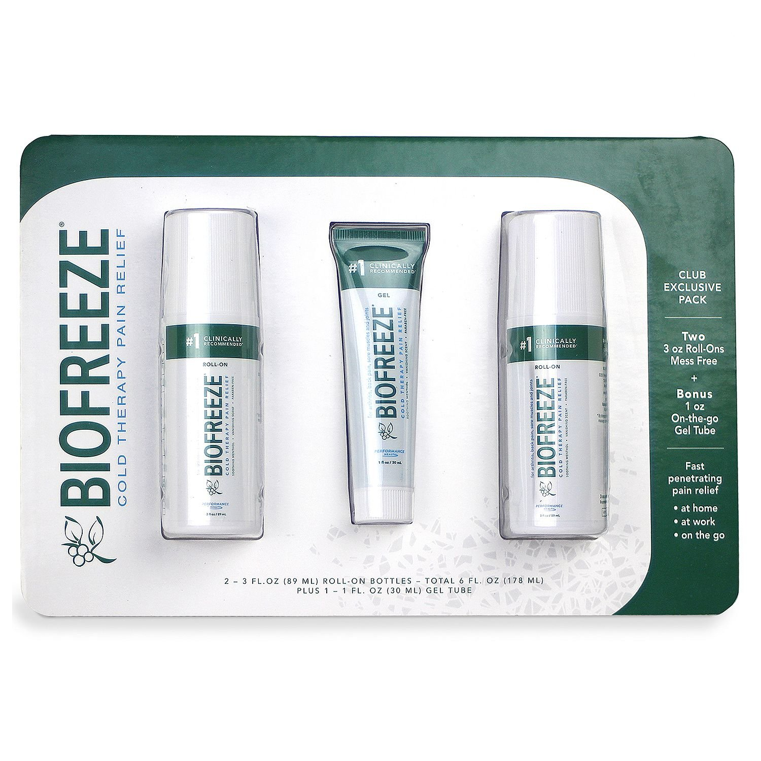 Biofreeze Cold Therapy Pain Relief, CLUB EXCLUSIVE PACK Two 89ml Roll-Ons Mess Free + 1 30 ml on the go gel Tube