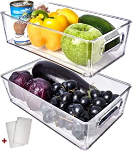 Fridge Organizer Bins 2 Pack - Refrigerator Organizer Bins Freezer Organizer Stackable Refrigerator Storage Bins Fridge Storage Containers Clear Pantry Organization And Storage Bins Clear Pantry Bins