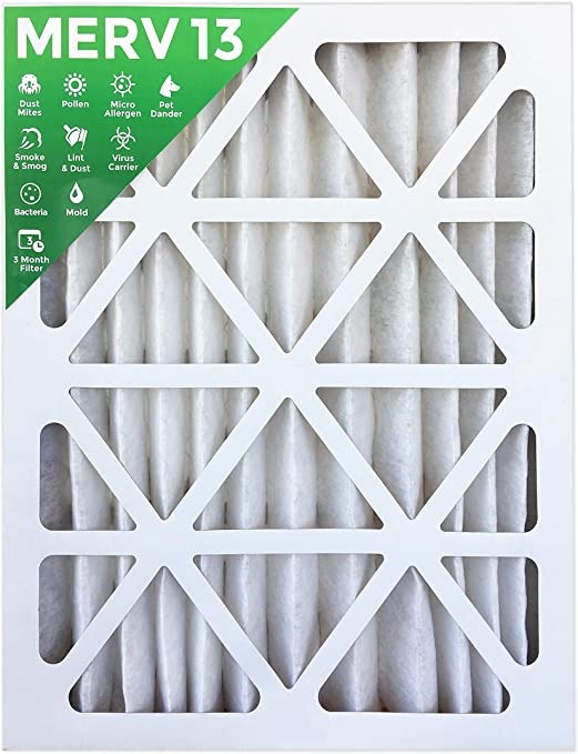 16x20x2 MERV 13 AC Furnace 2 Inch Air Filters 12 Pack MPR 2200