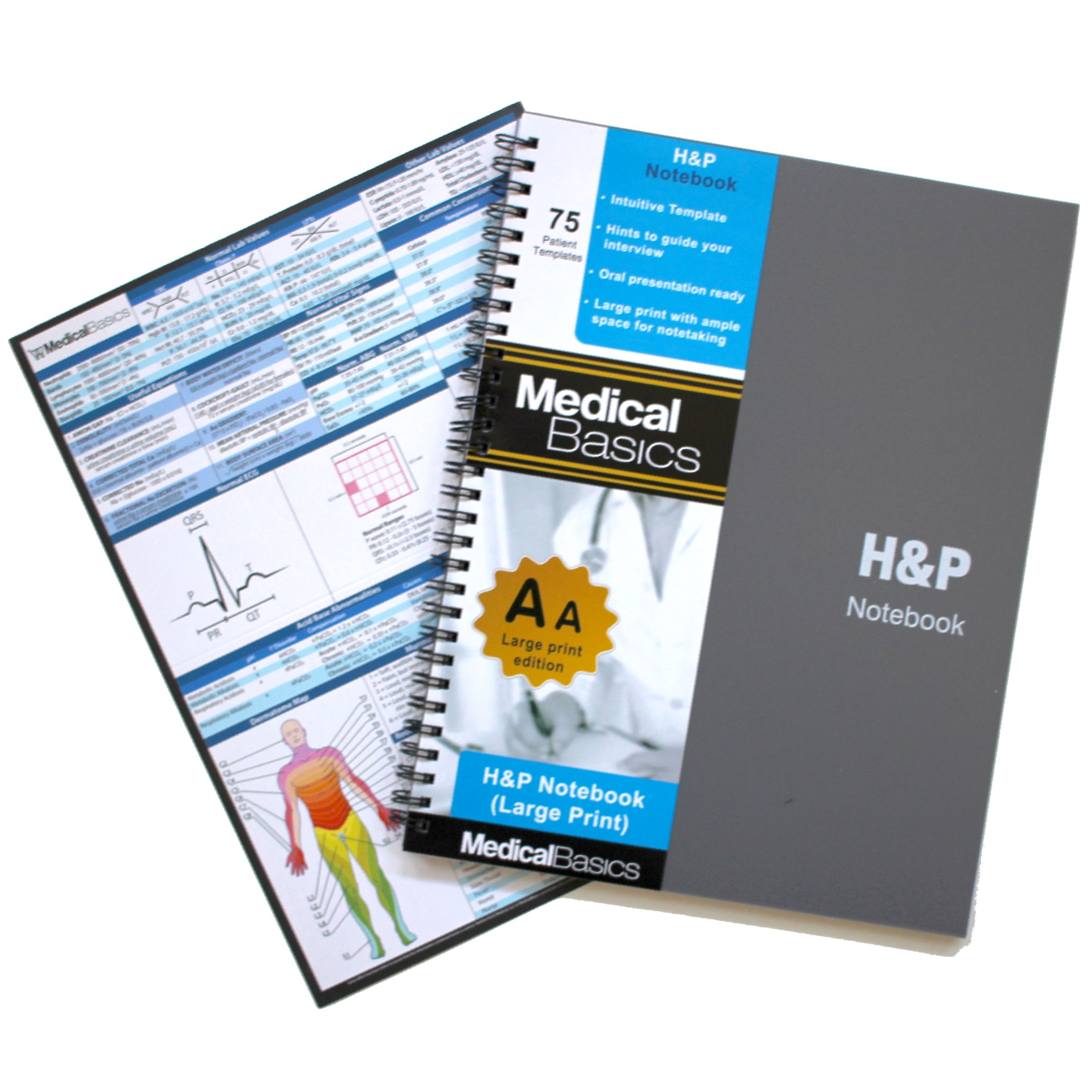 H&P Notebook Plus 8.5''x10'' (Large Print) - Medical History and Physical Notebook, 70 Medical Templates with Perforations