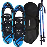 Flashtek Snowshoes for men and women, Light Weight Aluminum Terrain Snowshoes + Free Carrying Tote Bag + Pair Anti-Shock Adjustable Snowshoeing Pole (Optional)