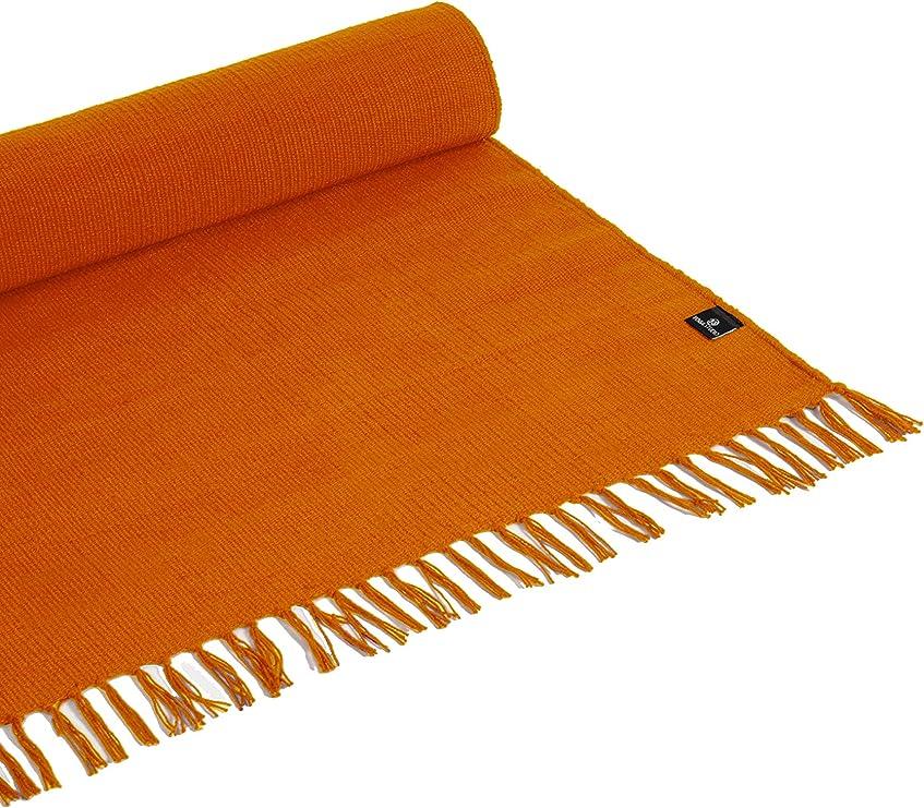 Yoga Studio - Alfombra orgánica YS/CottonRugs/Tassles/SAFF de 196 cm x 70 cm, borlas de azafrán, alfombra de algodón para meditación, relajación y yoga caliente, regular: Amazon.es: Deportes y aire libre