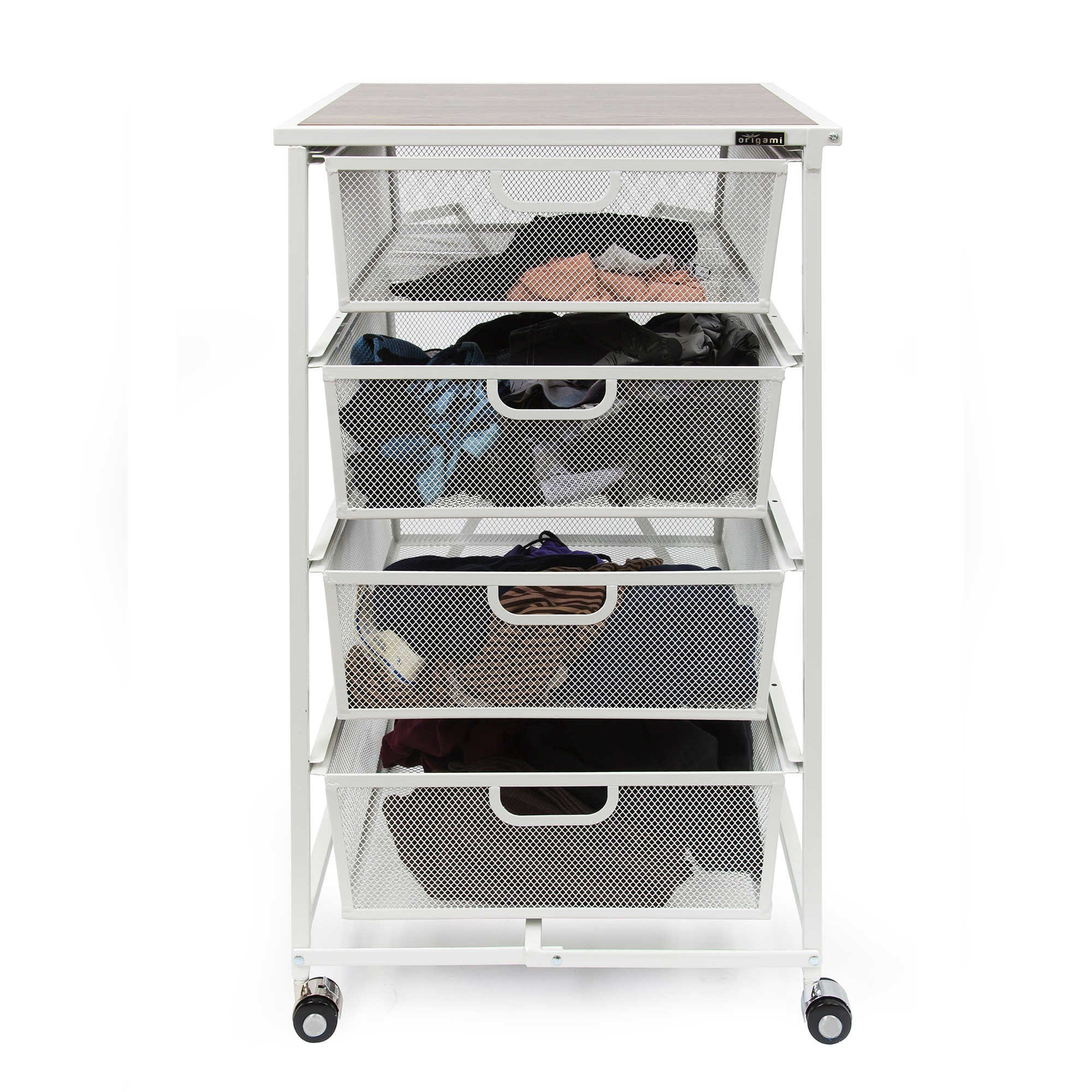 Origami 4-Tier Kitchen Drawer in White, Metal/wood Construction