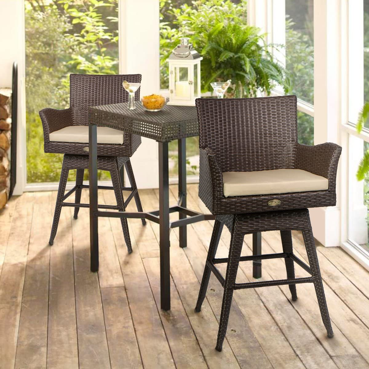 Barton Outdoor Patio Swivel Bar Stool Armrest with Footrest Rattan Crawford Sunbrella Weather-Resistant Fabric Cushion Set of 2