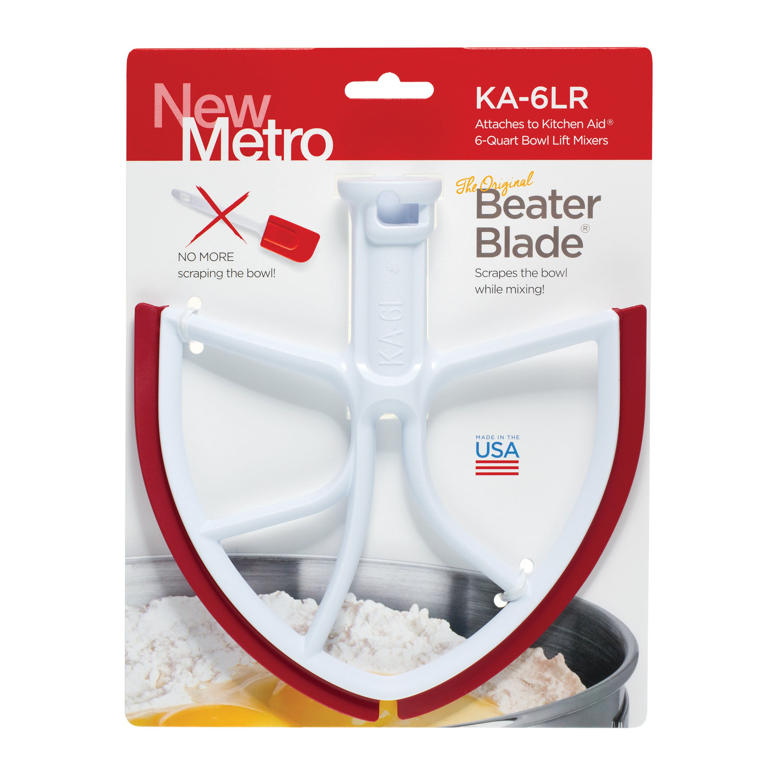 Original Beater Blade for KitchenAid 6-Quart Bowl Lift Mixer, KA-6LR, Red, Made in USA