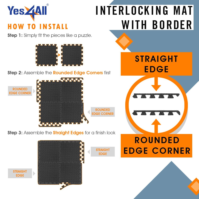 Yes4All Interlocking Exercise Foam Mats with Border – Interlocking Floor Mats for Gym Equipment – Eva Interlocking Floor Tiles (Gray) by Yes4All (Image #4)