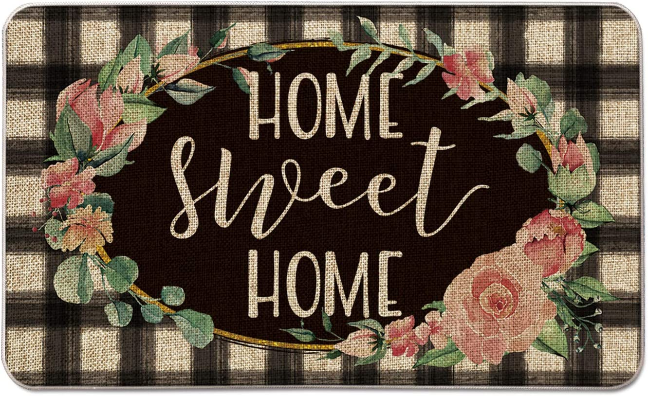 Artoid Mode Home Sweet Home Flower Wreath Decorative Doormat, Seasonal Fall Holiday Buffalo Plaid Low-Profile Floor Mat Switch Mat for Indoor Outdoor 17 x 29 Inch