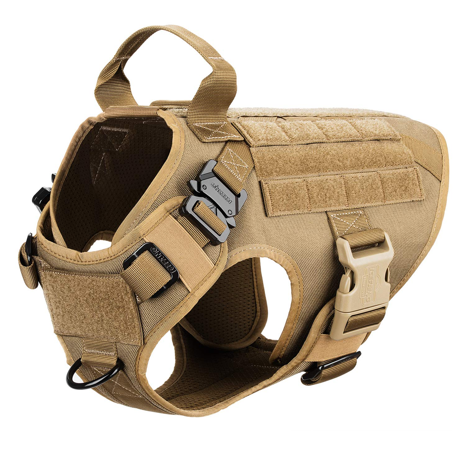ICEFANG Dog Harness Medium Breed,Tactical Molle Dog Vest,No Pulling Front Clip, Hook and Loop Panel for Dog Patch,Metal Buckle (M 25''-30'' Girth), CB-2x Metal Buckle