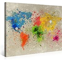 Gallery of Innovative Art – Mappa Del Mondo Acqua Colore Explosion – 100x75cm – Larga stampa su tela per decorazione murale – Immagine su tela su telaio in legno – Arazzo decorazione murale