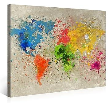 Kunstdrucke Modern amazon de premium weltkarte leinwanddruck 100x75 cm map