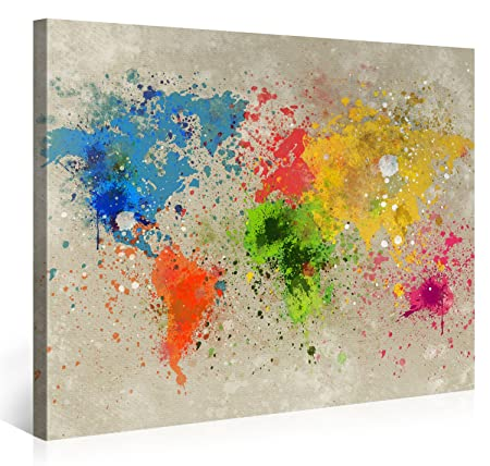 large canvas print wall art world map watercolour explosion