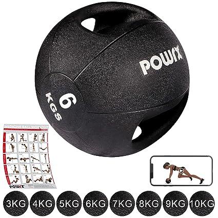POWRX - Balón Medicinal con Asas 6 kg + PDF Workout (Negro ...