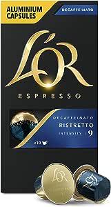 L'Or Espresso Coffee Ristretto Decaffeinato - Intensity 9 - 100 Aluminium Capsules Compatible with Nespresso®* Machines (10x10 Pods Pack)
