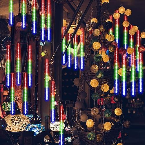 GPODER Falling Rain Lights 30CM, 8 Waterproof Tubes Meteor Lights, 288 LEDs Meteor Shower Lights for Christmas Outdoor Garden House Window Xmas Tree Decoration Multicolor