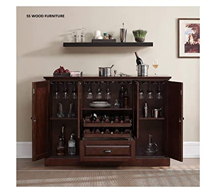 SS WOOD Furniture Sheesham Wood Peetz Royal Stylish Bar Cabinet with Wine Glass Storage for Living Room | Chestnut Finish